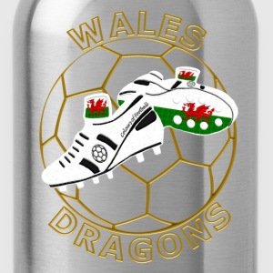 wales football crest white black gold Kids' Shirts - Water Bottle
