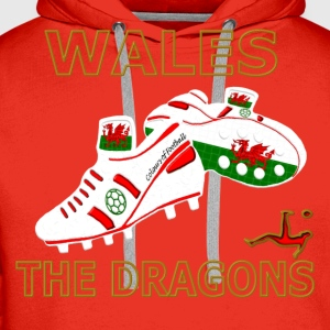 wales football boots white red gold Kids' Shirts - Men's Premium Hoodie