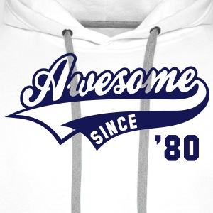 Awesome SINCE 1980 - Birthday Anniversaire T-Shirt BW - Men's Premium Hoodie