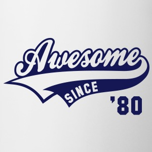 Awesome SINCE 1980 - Birthday Geburtstag Anniversaire T-Shirt BW - Tasse