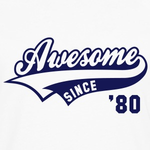 Awesome SINCE 1980 - Birthday Anniversaire T-Shirt BW - Men's Premium Longsleeve Shirt