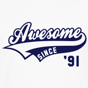 Awesome SINCE 1991 - Birthday Anniversaire T-Shirt BW - Men's Premium Longsleeve Shirt