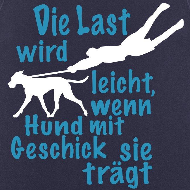 Die Last wird leicht, wenn Hund mit Geschick sie trägt