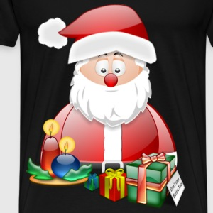 Father Christmas With Presents Candles Santa Christmas Scene - Men's Premium T-Shirt