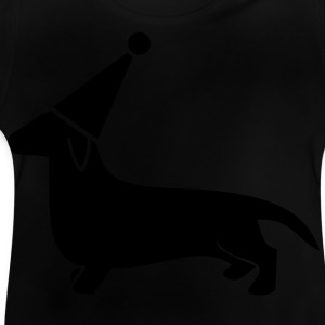cute little dachshund dog party hat sausage puppy Shirts - Baby T-Shirt
