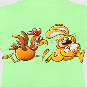 Easter Bunny Stealing an Egg from a Furious Hen Kids' Tops - Baby T-Shirt