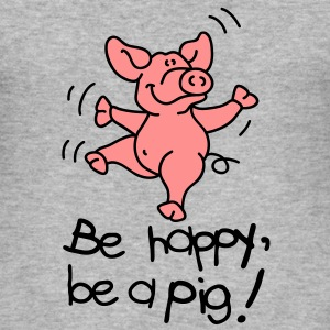 Be happy, be a pig! Gensere - Slim Fit T-skjorte for menn