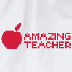 AMAZING computer TEACHER with apple in a digital  Caps & Hats - Drawstring Bag
