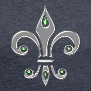 Fleur de Lis - Lily Flower, Trinity Symbol - Charity, Hope and Faith, silver  Hoodies & Sweatshirts - Women's T-shirt with rolled up sleeves