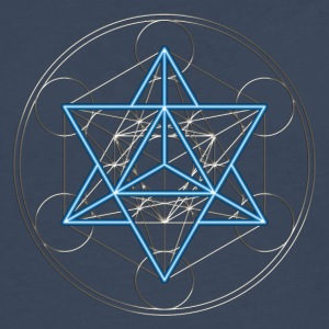 Star Tetrahedron - Merkaba, DD, silver blue,  Flower of Life, Sacred geometry, Platonic Solids T-shirt - Maglietta Premium a manica lunga da uomo