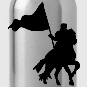 heroic medieval knight on a war horse with flag Hoodies - Water Bottle