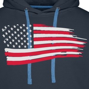 usa_flag_on_blue T-Shirts - Men's Premium Hoodie