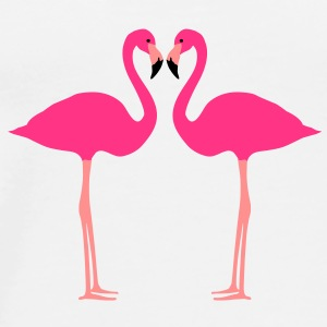 fenicottero, Flamingoes and Heart - Maglietta Premium da uomo