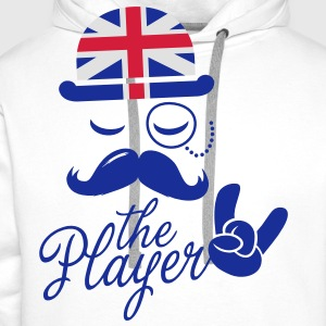 England Gentleman championship player football | olympics sporting moustache  Aprons - Men's Premium Hoodie