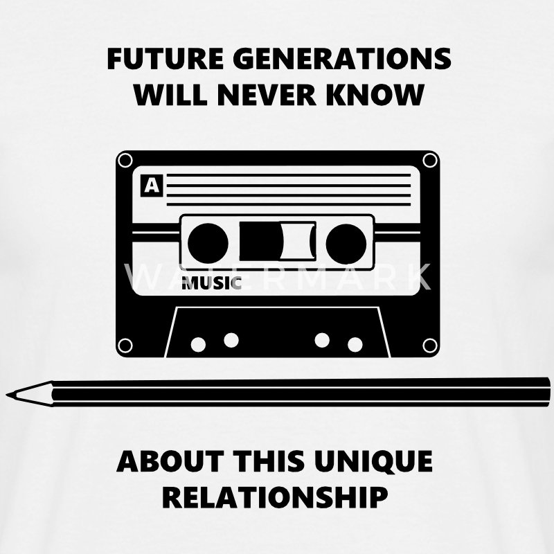 Audio Tape Stift Pencil Relationship T-shirts - Mannen T-shirt