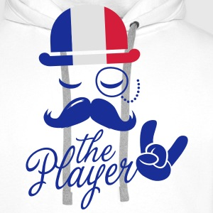 France retro gentleman sports player rock | olympics | football | Championship | Moustache | Flag European  Aprons - Men's Premium Hoodie
