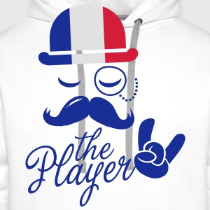 France retro gentleman sports player rock | olympics | football | Championship | Moustache | Flag European Fartuchy - Bluza męska Premium z kapturem
