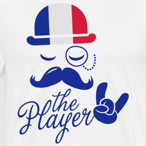 France retro gentleman sports player rock | olympics | football | Championship | Moustache | Flag European  Aprons - Men's Premium T-Shirt