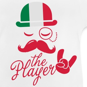 Italy retro gentleman sports player rock | football | Moustache | Flag European Børne T-shirts - Baby T-shirt