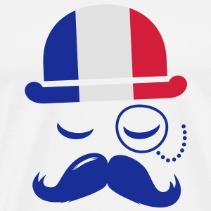 France fashionable retro iconic gentleman with flag | sports | olympics | football | Championship | Moustache Mugs  - Men's Premium T-Shirt
