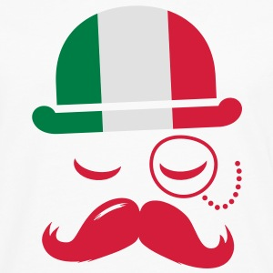 Italy fashionable retro iconic gentleman with flag and Moustache | sports | football T-paidat - Miesten premium pitkähihainen t-paita