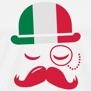 Italy fashionable retro iconic gentleman with flag and Moustache | sports | olympics | football Mugs  - Men's Premium T-Shirt