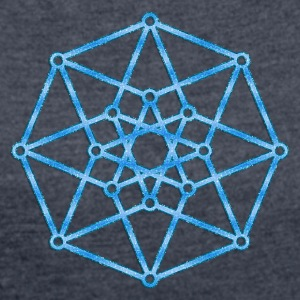 Hypercube 4D - TESSERACT - edge-first-shadow, c, Symbol - Dimensional Shift, Metatrons Cube, Ishtar Star Hoodies & Sweatshirts - Women's T-shirt with rolled up sleeves