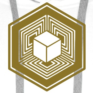 TESSERACT, Hypercube 4D, Agroglyphe, Crop Circle, 17th July 2010, Fosbury, Wiltshire, Symbol - Dimensional Shift Tee shirts - Sweat-shirt à capuche Premium pour hommes