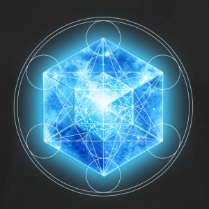 Metatrons Cube with TESSERACT, Hypercube 4D, digital, Symbol - Dimensional Shift,  Tee shirts - T-shirt manches longues Premium Homme