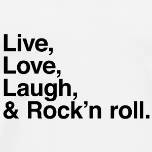 live love laugh and rock and roll Buttons - Mannen Premium T-shirt