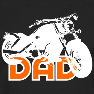 Biker DAD White/Orange Motorcycle T-Shirt WB - Långärmad premium-T-shirt herr