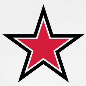 sharp red star with sharp black outline Shirts - Baseball Cap