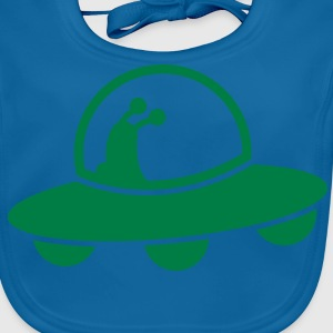 alien spacecraft flying UFO with cute Aliens Shirts - Baby Organic Bib
