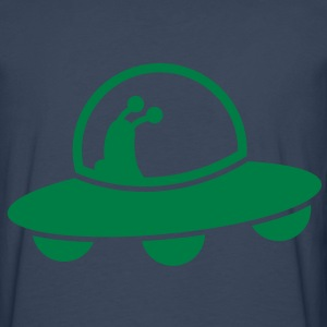 alien spacecraft flying UFO with cute Aliens Shirts - Men's Premium Longsleeve Shirt