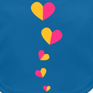 5 half hearts in a line down funky! Shirts - Baby Organic Bib