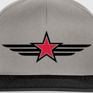 sharp red star black outline with 'wings' T-Shirts - Snapback Cap