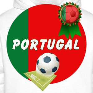 Portugal Football Team Supporter Rosette Ball & Pitch  - Men's Premium Hoodie