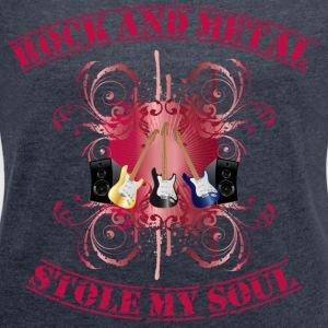Rock and Metal stole my soul - red Tröjor - T-shirt med upprullade ärmar dam