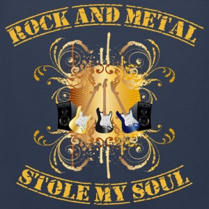 Rock and Metal stole my soul - yellow Puserot - Miesten premium hihaton paita
