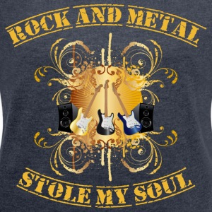 Rock and Metal stole my soul - yellow Sudadera - Camiseta con manga enrollada mujer