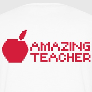 AMAZING computer TEACHER with apple in a digital  T-Shirts - Men's Premium Longsleeve Shirt