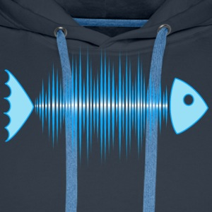 fish skeleton - music wave - DD blue T-shirts - Mannen Premium hoodie