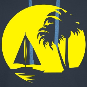 Sail boat and Palm Trees - Men's Premium Hoodie