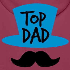 TOP dad with a top-hat mustache or moustache Polo Shirts - Men's Premium Hoodie