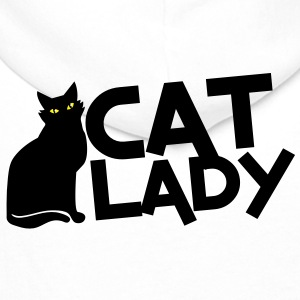CAT LADY with black cat and yellow eyes! Polo Shirts - Men's Premium Hoodie