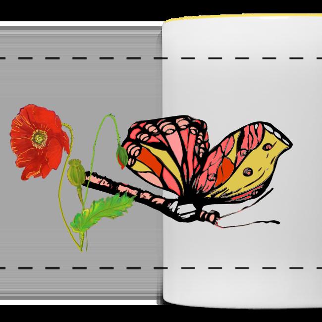 Mohnblumen und Schmetterling