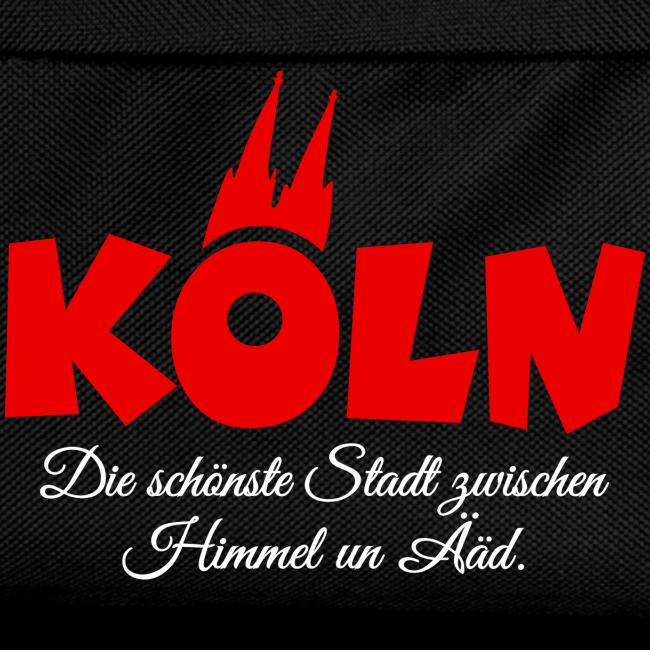 Köln, die schönste Stadt zwischen Himmel un Ääd (Schwarz/Rot)