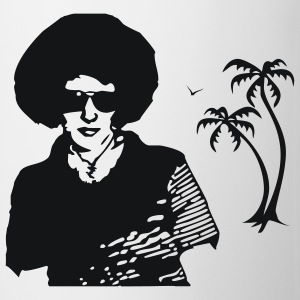 White/navy Afro with Palms T-Shirts - Mug