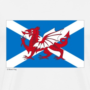 White Scotland Wales Mixed Flag  Aprons - Men's Premium T-Shirt