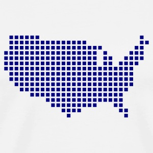 White United States Pixel Map USA Accessories - Men's Premium T-Shirt